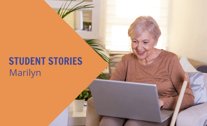 Image of Why retiree student, Marilyn, loves online learning